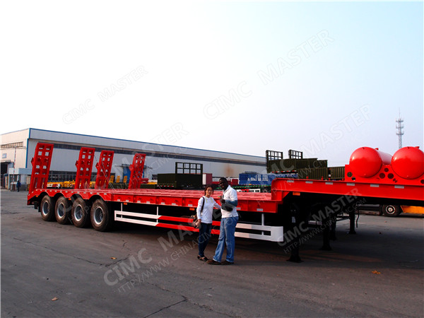 4 axles 100ton heavy low bed semi trailer