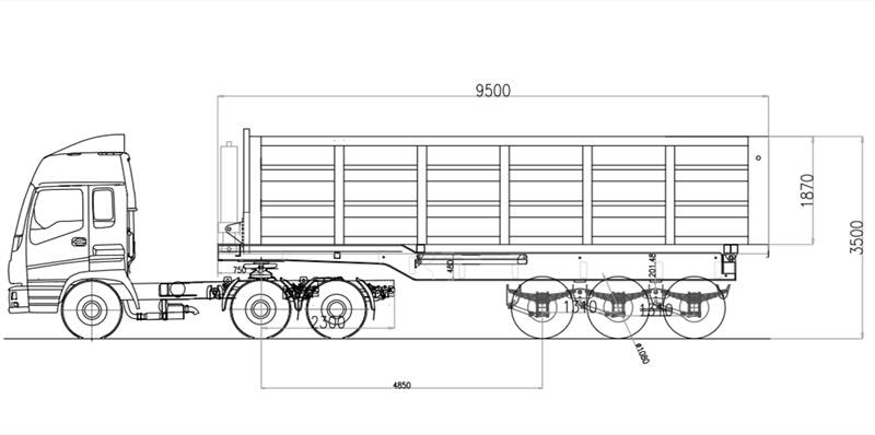 Drawing of 3 Axle Tipper semi trailer