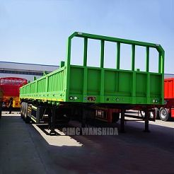 3 axle container flatbed trailer with side panel